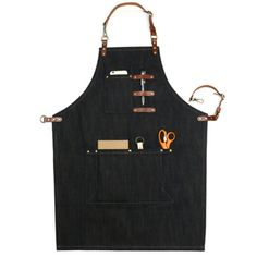 Unisex Black/Green Denim Bib Apron with Adjustable Genuine Leather Straps and Convenient Pockets. Suitable for Uniforms of Barber,Barista,Bartender,Baker,Chef,Stylist,Hairdresser,Waiter/Waitress,Florist,Painter,Gardener, Carpenter,Woodworker or Work wear of Salon,Bakery,Cafe,Restaurant,Hotel,Bistro,Tattoo shop,Craft workshop etc.