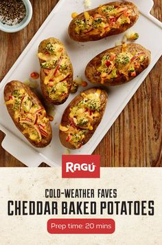 These cheesy, veggie-filled baked potatoes are perfect on their own or as a hearty side for dinner. Pick up a jar of RAGÚ Family Size Double Cheddar sauce to make this recipe for your next potluck dinner party.