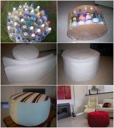 Otamanos con botellas recicladas
