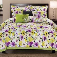 yellow and purple and gray twin size comforter with flowers | ... 6PC MODERN PURPLE WHITE GREEN BLACK YELLOW FLORAL CHIC COMFORTER SET