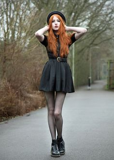 Hat, Let Them Stare Preacher Dress, Dr. Martens Boots - I'm useless, but not for long - Olivia Emily Punk Outfits, Grunge Outfits, Fashion Outfits, Estilo Grunge, Uk Fashion, Grunge Fashion, Doc Martens, Olivia Emily, Goth Outfit