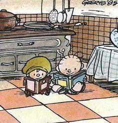 """Illustration d'André Geerts. """"Jojo et Gros Louis lisant de la bande dessinée"""" >>Illustrateur et scénariste belge de bandes dessinées.  Il a donné vie aux personnages de Jojo et Mademoiselle Louise (séries BD des mêmes noms)"""