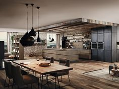 The modern industrial interiors have evolved from its purely utilitarian beginnings. Here are some brilliant and gorgeous modern industrial ideas and designs to inspire your next home renovation. Industrial Style Lighting, Industrial Interior Design, Industrial Interiors, Modern Industrial, Polished Concrete Flooring, Wooden Flooring, Exposed Brick Walls, Country Style Homes, Brickwork