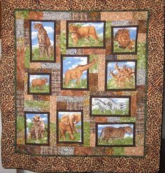 My Feed Dogs Are Down: Safari quilt Big Block Quilts, Boy Quilts, Quilt Block Patterns, Quilt Blocks, Wildlife Quilts, Chenille Quilt, Fabric Panel Quilts, Safari, Photo Quilts