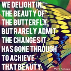 We delight in the beauty of the butterfly, but rarely admit the changes if has gone through to achieve that beauty.