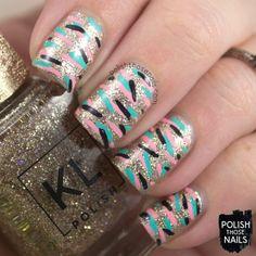 Das Some Fancy Linework // Polish Those Nails // Twinsie Tuesday - Sparkle // Inspired by Ana Maria Munoz // kl polish - glitter