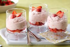 Fresh Strawberry-Rhubarb Fool recipe = What's foolish about our smart, creamy take on the classic strawberry-rhubarb dessert? Enter the COOL WHIP Pin & Win Sweepstakes! Get started (Favorite Desserts Cool Whip) Rhubarb Desserts, Rhubarb Recipes, No Bake Desserts, Just Desserts, Delicious Desserts, Dessert Recipes, Yummy Food, Jello Desserts, Jello Salads