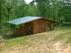 GREAT goat shed with another side for either sheep or donkey, and storage or safe area for babies in center.