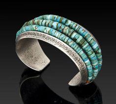 Charles Loloma (Hopi/American), Bracelet, turquoise/silver, c. 1980.
