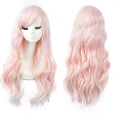Cute Lolita Charm Princess Light PINK Wig Long Wavy Hair Synthetic Party Wigs for sale online Braids For Long Hair, Long Curly Hair, Curly Hair Styles, Cheap Cosplay Wigs, Light Pink Hair, Face Shape Hairstyles, Pink Wig, Wigs For Sale, Wig Cap
