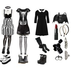 Nu Goth by queenstormrider on Polyvore featuring Bohemian Society, Wet Seal, Dr. Martens, Accessorize, KD2024, NARS Cosmetics and Chanel