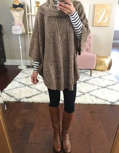 ponte skinny ankle pants, BP runway cognac boots, Cable-Knit Cowl-Neck Poncho, Striped turtleneck, petite ponchos, fall fashion, winter outfits, fall outfits -  click the photo for outfit and room details!
