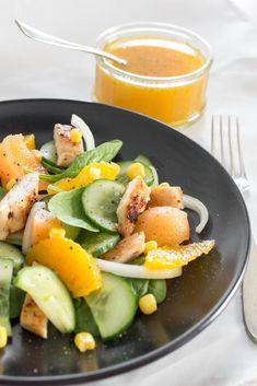Salade Concombre, Melon, Orange & Poulet