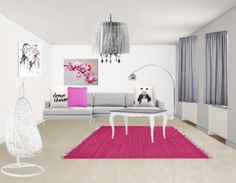 Fan van roze? Combineer deze kleur dan met veel grijs en wit. Kies een aantal roze accenten, bijvoorbeeld een tapijt, kussen en schilderij.