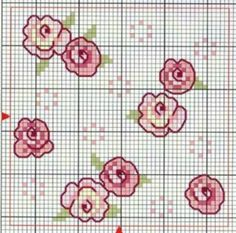 Flowers---- doll house walls or floors Mini Cross Stitch, Cross Stitch Rose, Cross Stitch Flowers, Cross Stitch Charts, Cross Stitch Designs, Cross Stitch Patterns, Ribbon Embroidery, Cross Stitch Embroidery, Embroidery Patterns