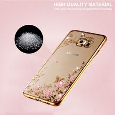 For Samsung Galaxy S6 Case Transparent Rhinestone Gold Plating Glitter Diamond Soft TPU Luxury For Samsung. Click visit to buy #RhinestoneCase #rhinestone #case