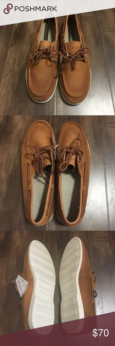 6359384216 Men's Tan Lacoste Boat Shoes NWT. This was a display model so there is  slight wear on the leather.