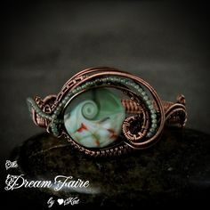 Graceful Wave - Lampwork, Aventurine and Copper Wire Woven Cuff Bracelet (was $90)