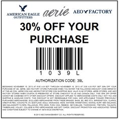 Pinned November 15th: 30% off at #American Eagle Outfitters, Aerie & factory locations, or online via promo code 483689L1 #coupon via The Coupons App