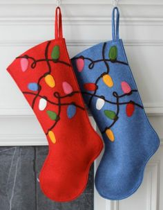 Santa Claus Handmade Wool Felt Christmas Stocking: Celebrate with a Tangled Light Bulbs Stocking at the Holidays!Handmade Wool Felt Christmas Stocking: Celebrate with a Tangled Light Bulbs Stocking at the Holidays! Felt Christmas Stockings, Christmas Stocking Pattern, Felt Stocking, Felt Christmas Ornaments, Christmas Sewing, Christmas Holidays, Stocking Ideas, Christmas Projects, Christmas Crafts