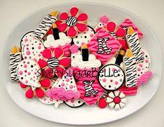 Girly Bright Animal Print Birthday Cookies