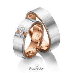 Pair of multi-coloured wedding rings in Grey gold 18ct (750/1000) Pink gold 18ct (750/1000)  Baguette - Diamond - Diamond - Diamond - cut diamonds Approx. 0.155 ct. G, vs & G, si. Be inspired and create your own individual symbols of love.