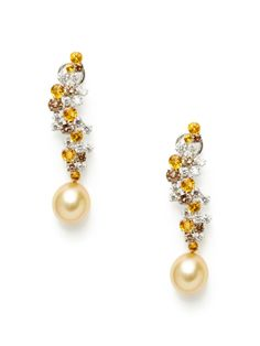 Multicolored Diamond Cluster & Golden Pearl Drop Earrings by Tara Pearls at Gilt.  Stunning!