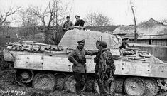 Colonel Karl Lorenz commander of an infantry regiment of German Army 'Großdeutschland' Division talking to soldiers in the southern Eastern Front January Note Panzer V Panther Ausf. A tank. Panzer Iii, Luftwaffe, Der Panther, Mg 34, Tiger Tank, Tiger Tiger, Tank Destroyer, Ww2 Photos, Ww2 Tanks