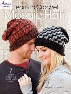 Learn to Crochet Mosaic Hats ~ easy level ~ clear instructions and photos walk you step-by-step through making a basic mosaic fabric & incl. patterns for 7 hats ~ PURCHASED pattern - CROCHET Annie's Crochet, Crochet Beanie, Love Crochet, Learn To Crochet, Knitted Hats, Crochet Hats, Easy Crochet, Crochet Clothes, Women's Dresses