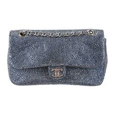 Chanel Diamante Flap Bag found on Polyvore featuring bags, handbags, shoulder bags, purses, flap bag, chanel, chanel handbags, blue purse and zipper handbag