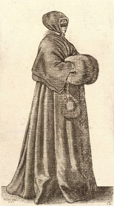 """""""The mask, hood and fur muff appear to have been the standard winter uniform for women of the early and mid-17th century.  The drawing dates to 1639 and is by Wenceslas Hollar."""""""