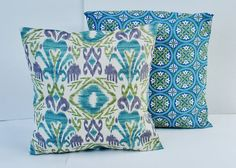 """Decorative Pillow Cover- --Throw Pillow--Ikat- 18 x 18 """" turquoise, teal, olive, natural, violet, oarmeal. $26.00, via Etsy."""