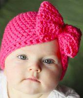 Crochet Baby Turban Pictures New Ideas Crochet Bow Pattern, Crochet Baby Hat Patterns, Crochet Bows, Crochet Kids Hats, Crochet Baby Clothes, Cute Crochet, Knitting Patterns, Crochet Turban, Crochet Beanie