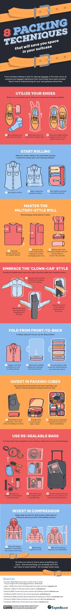 We& covered lots of ways to cram a lot of stuff in small suitcases, but this video and infographic from Expedia is full of handy packing tips to remember the next time you& heading out on a business trip& a well-earned vacation. Travelling Tips, Packing Tips For Travel, Travel Essentials, Packing Hacks, Travel Hacks, Travel Ideas, Packing Cubes, Packing Ideas, Luggage Packing