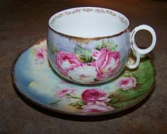 Hand Painted Rose Limoges Elite Tea Cup Saucer by ATokenOfLove, $59.00