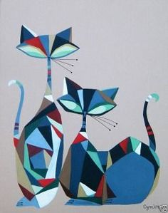 Cats - (from El Gato Gomez gallery). Mid Century Modern Art, Mid Century Art, Quilt Modernen, Cat Quilt, Cat Colors, Cat Drawing, Crazy Cats, Cat Art, Art Projects