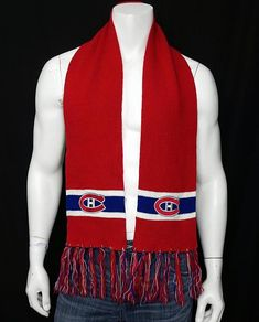 Adult NHL Montreal Canadiens Red White & Blue Fan Scarf Embroidered Habs Logo #MidwayIndustries #MontrealCanadiens Montreal Canadiens, Red White Blue, Men's Accessories, Nhl, Logo, Jackets, Shopping, Fashion, Down Jackets