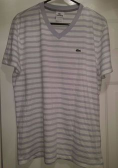 Lacoste NWT Men's Gray/White Striped V-Neck Shirt Size 5 (M) #Lacoste #BasicTee