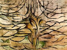 Piet Mondrian, Tree Very abstract interpretation of a tree. Using the brown and green colours associated with treesand very simplistic shapes - like the shape of leaves to make up the tree. Piet Mondrian, Mondrian Kunst, Kandinsky, Dutch Painters, Monochrom, Surreal Art, Tree Art, Art Techniques, Abstract Art