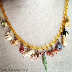 Zoo themed celluloid necklace