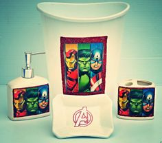 Bathroom Set Super Heros Avengers by SassyBritchez on Etsy