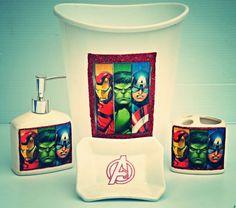 Avengers shower curtain bathroom decor iron man thor for Spiderman bathroom ideas