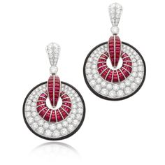 Art Deco Ruby and Onyx Earrings | William Noble