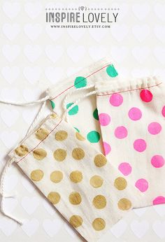 10 Hand Stamped Cotton Bags   SMALL by InspireLovely on Etsy,