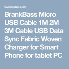 BrankBass Micro USB Cable 1M 2M 3M Cable USB Data Sync Fabric Woven Charger for Smart Phone for tablet PC