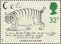 Death Centenary of Edward Lear 32p Stamp (1988) 'Cat' (from alphabet book)