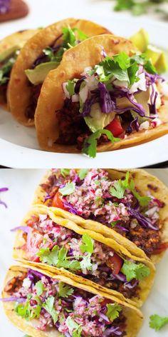Vegan Tempeh Tacos - These are the ultimate vegan taco! Meaty tempeh, fresh veggies, and crisp shells. I cant stop eatin Tempeh Recipes Vegan, Vegan Dinner Recipes, Veggie Recipes, Mexican Food Recipes, Vegetarian Recipes, Cooking Recipes, Healthy Recipes, Budget Recipes, Cooking Tips