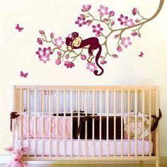 Pas cher Sleeping Singe Pink Flower Tree Wall Sticker pour les enfants chambre pépinière de bébé décoration de la maison, Acheter  Autocollants muraux de qualité directement des fournisseurs de Chine:   Sleeping Singe Pink Flower Tree Wall Sticker pour les enfants chambre pépinière de bébé décoration de la maison