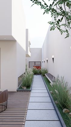 Small Backyard Gardens, Modern Backyard, Backyard Garden Design, Patio Design, Backyard Patio, House Design, Front Wall Design, Side Yard Landscaping, Design Exterior