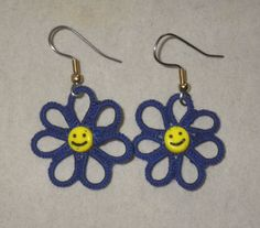 royal blue tatted smiley face daisy earrings by TattingByWendy, $18.00